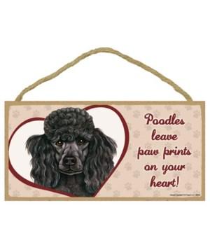 Black Poodle Paw Prints 5x10 plaque