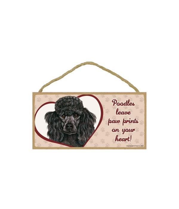 Poodle Black Paw Prints 5x10 plaque