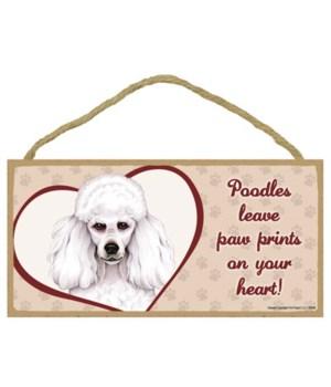 White Poodle Paw Prints 5x10 plaque