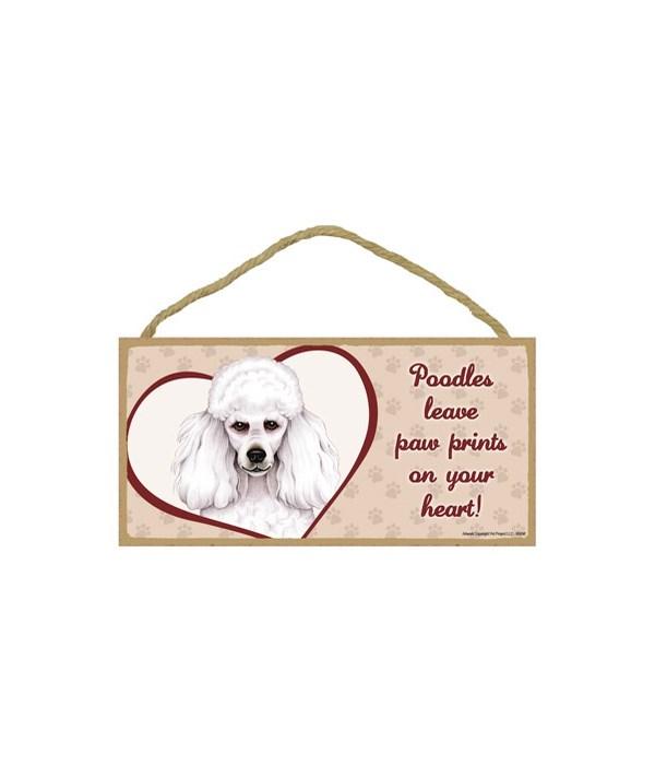 Poodle White Paw Prints 5x10 plaque