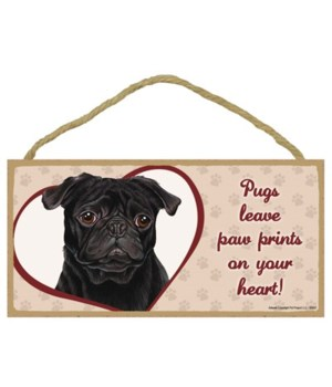 Black Pug Paw Prints 5x10 plaque