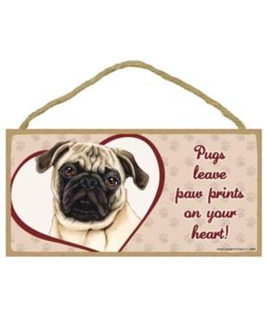 Tan Pug Paw Prints 5x10 plaque