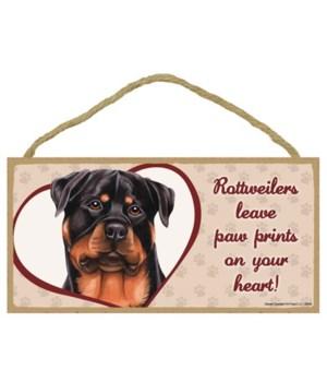 Rottweiler Paw Prints 5x10 plaque