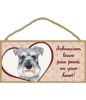 Schnauzer Paw Prints 5x10 plaque