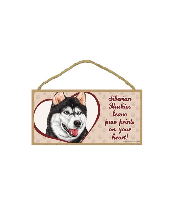 Husky Siberian Paw Prints 5x10 plaque