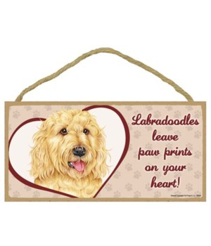 Blonde Labradoodle Paw Prints 5x10 plaqu