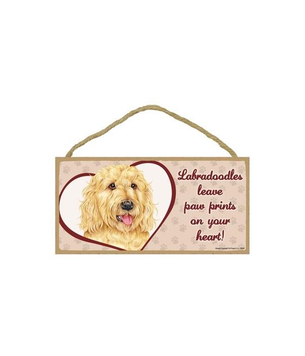 Labradoodle Blonde Paw Prints 5x10 plaqu