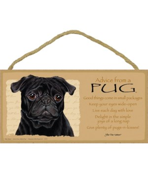 Advice from a Pug (black) 5x10