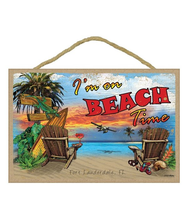 "I'm on beach time - 7""x10.5"""
