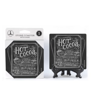 Hot cocoa (black with white chalk letter