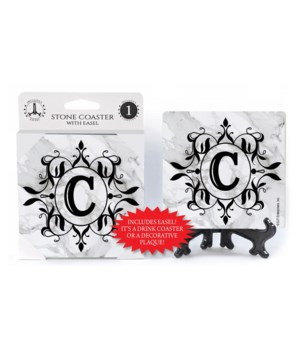 "Lettered Marble Coasters - ""C"""