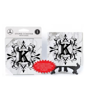 "Lettered Marble Coasters - ""K"""