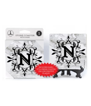 "Lettered Marble Coasters - ""N"""