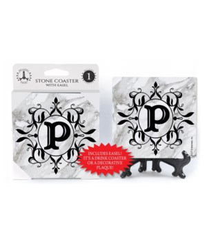"Lettered Marble Coasters - ""P"""