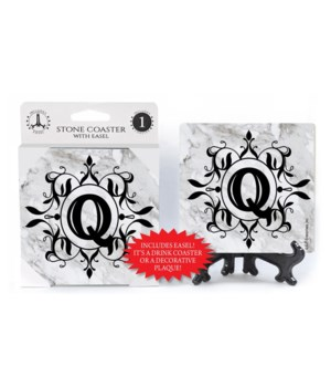 "Lettered Marble Coasters - ""Q"""