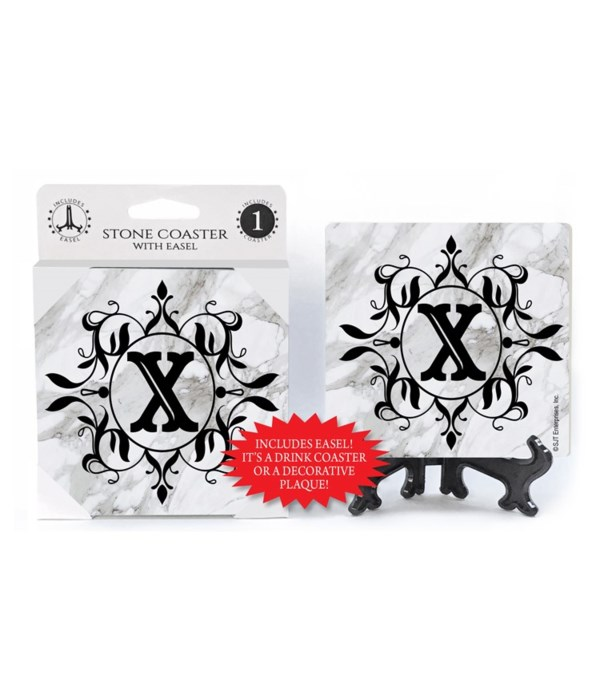 """Lettered Marble Coasters - """"X"""""""
