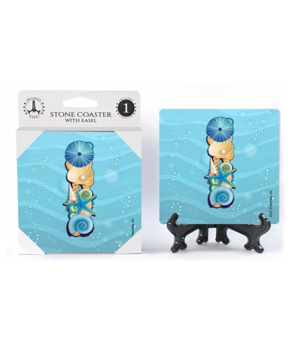 "Lettered Ocean Coasters - ""I"""