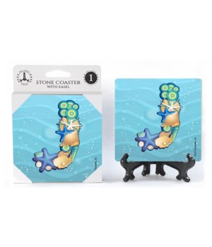 "Lettered Ocean Coasters - ""J"""