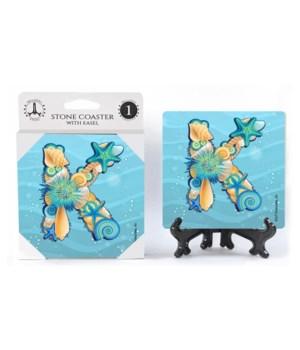 "Lettered Ocean Coasters - ""K"""