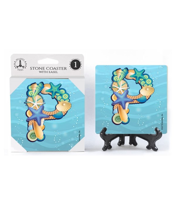 """Lettered Ocean Coasters - """"P"""""""