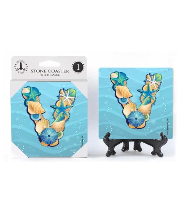 """Lettered Ocean Coasters - """"V"""""""