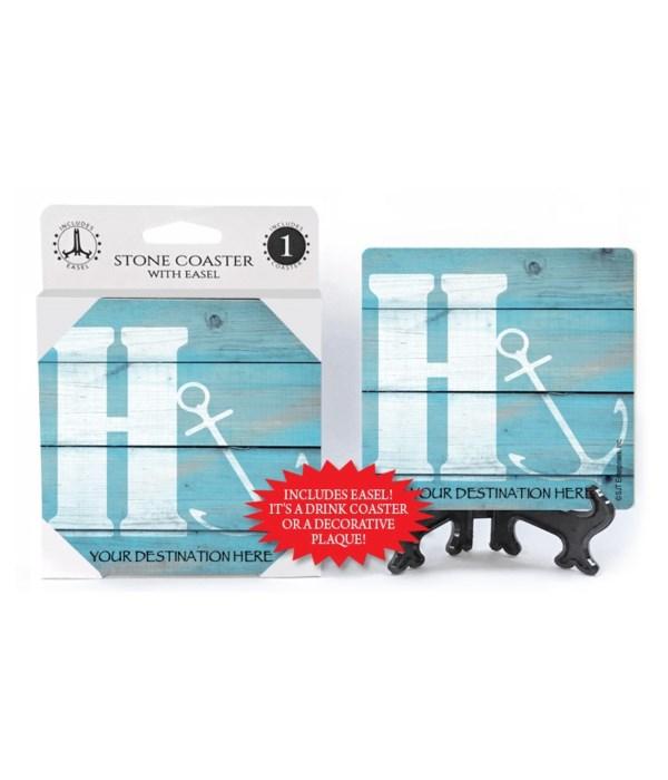 "Lettered Lake / Sail Coasters - ""H"""