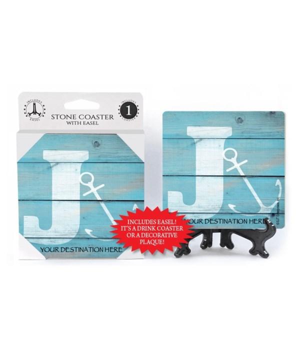 "Lettered Lake / Sail Coasters - ""J"""