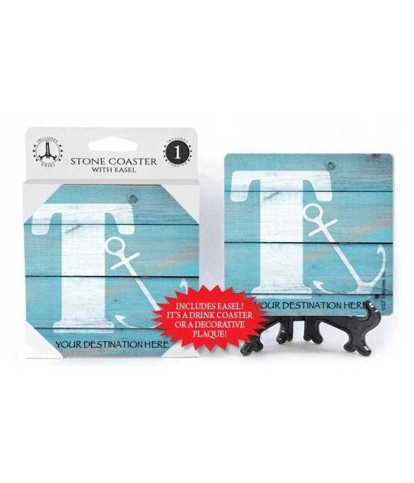 "Lettered Lake / Sail Coasters - ""T"""