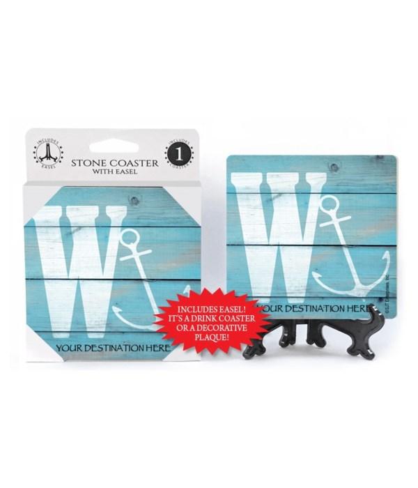 "Lettered Lake / Sail Coasters - ""W"""