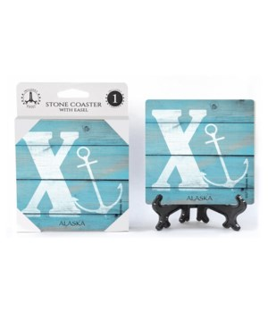 "Lettered Lake / Sail Coasters - ""X"""