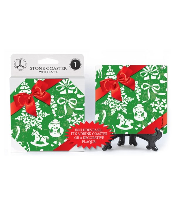 Christmas wrapping paper with icon of ch