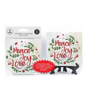 Peace Joy Love - Wreath shape made w/pin