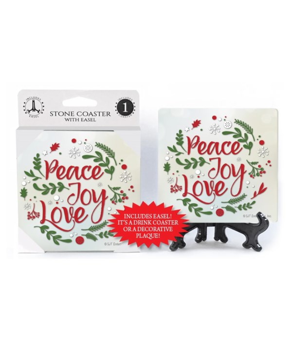 Peace Joy Love - Wreath shape made w/pin