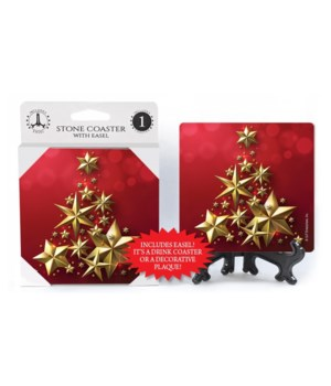 Gold stars in shape of Christmas tree -