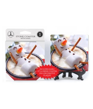 Marshmallow snowman w/pretzel arms float