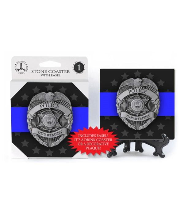 Police Department Badge - grey stars in