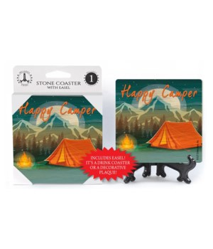 Happy Camper - Tent and campfire- mounta