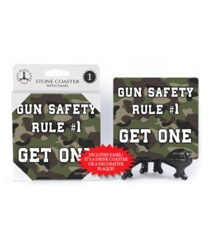 Gun safety rule #1 coaster