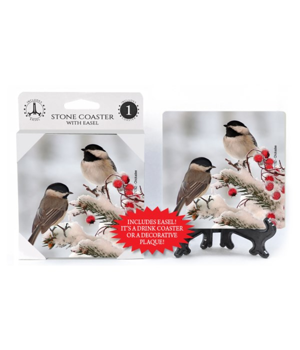 Chickadees - berries and snow