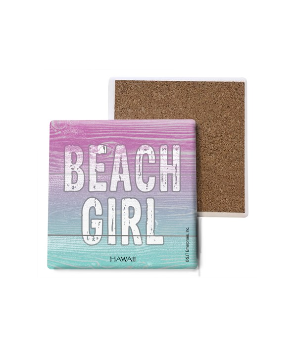 Beach Girl - Pink and Blue Background