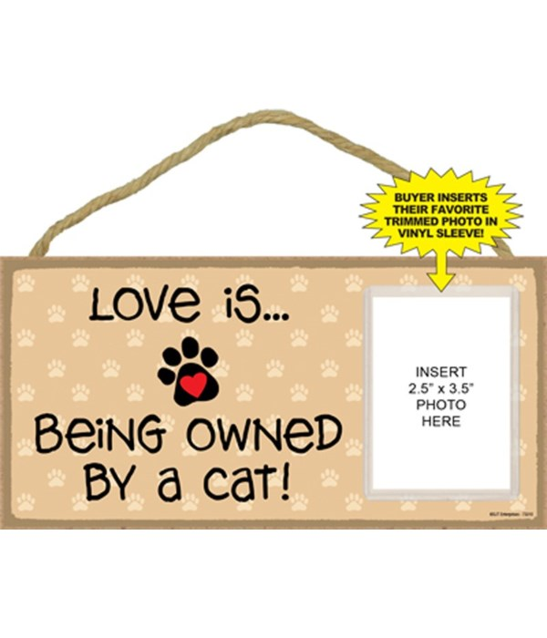 Love owned by cat picture 5x10 plaque