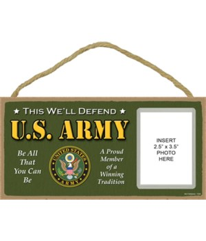 Army photo insert 5x10 plaque