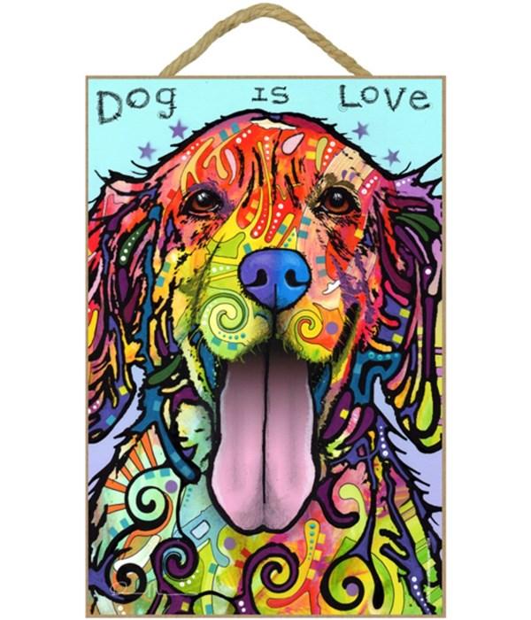 Golden Retriever - Dog is love 7x10 Russ
