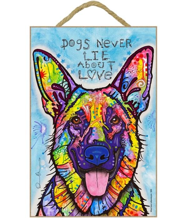 German Shepherd - Dogs never lie 7x10 Ru