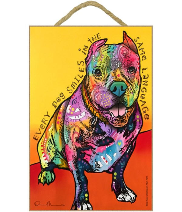 Pitbull - Every dog smiles 7x10 Russo