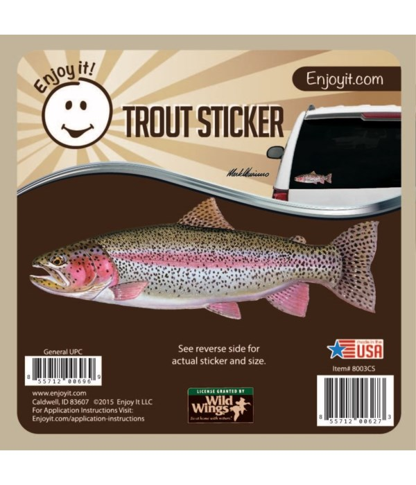 Rainbow Trout Full Color Car Sticker