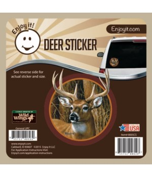 Whitetail Deer Head (Round) Car Sticker