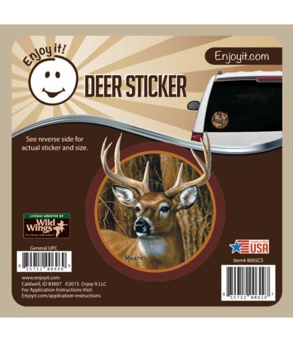 Whitetail Deer Head (Round) Car Sticker