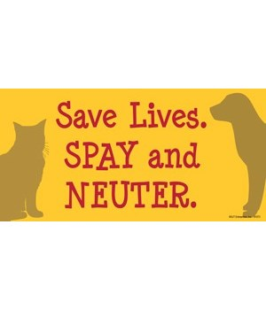 Save Lives. Spay and Neuter. 4x8 Car Mag
