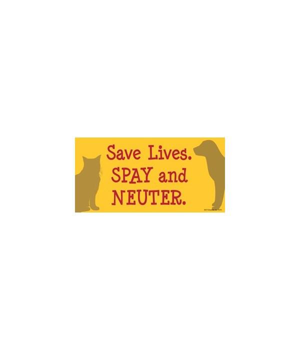 Save Lives. Spay and Neuter. 4x8 Car Mag